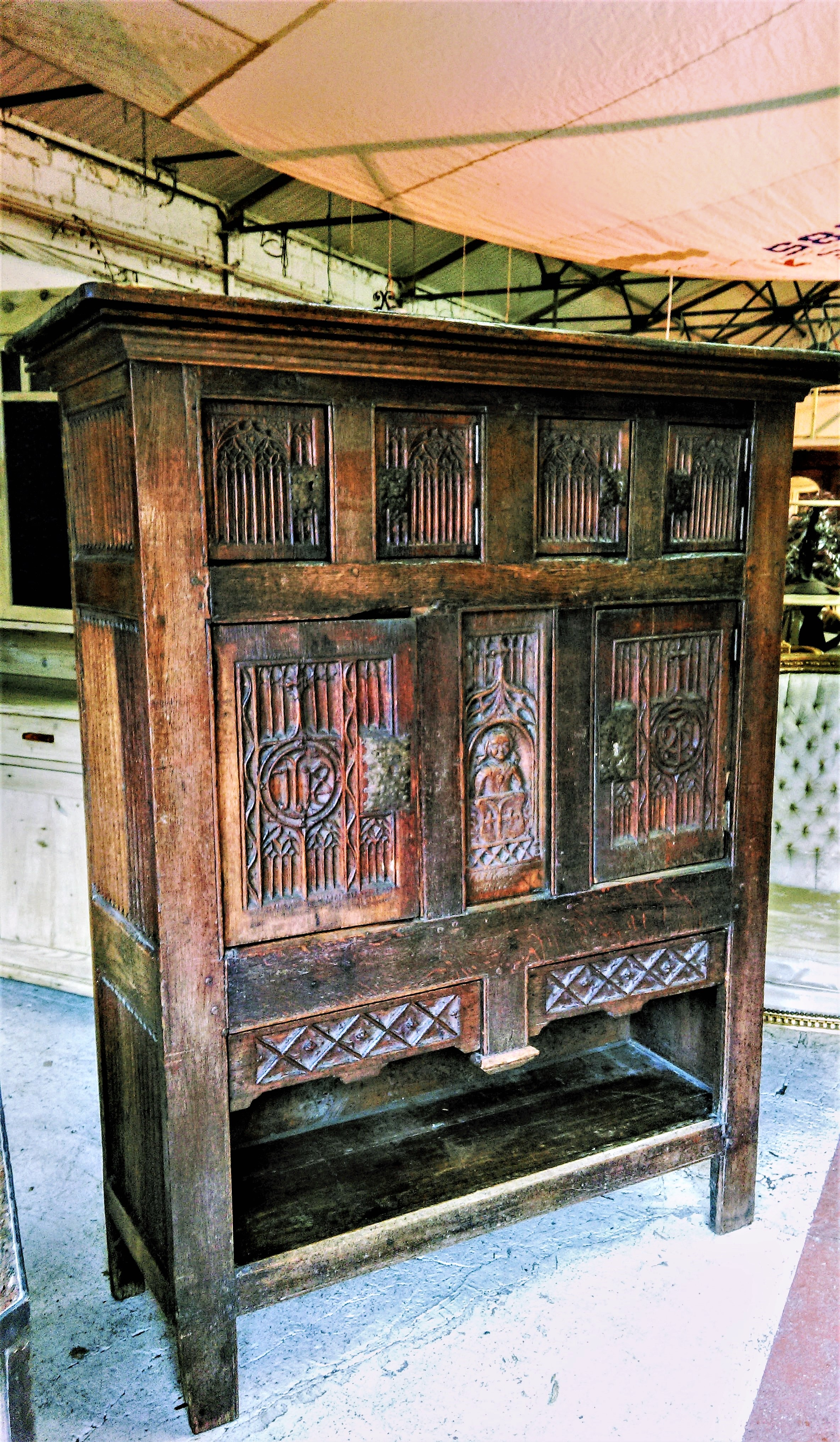 16th Century And Later Carved Oak Gothic Aumbry Dressoire